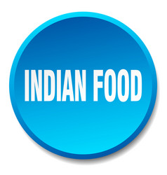Indian food blue round flat isolated push button vector