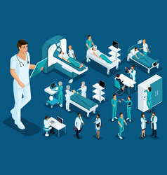 Isometric medicine doctor paramedic large surgeon vector