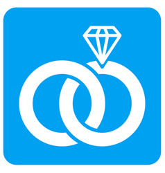 jewelry wedding rings rounded square icon vector image