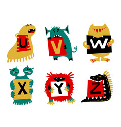 Kids alphabet with cute colorful monsters or vector