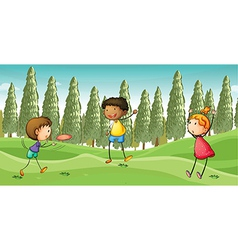 Kids playing flying dish vector image
