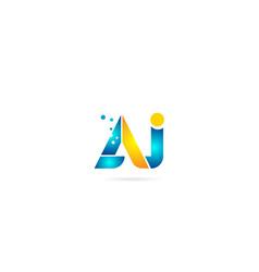 Letter combination aj a j orange blue alphabet vector