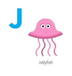 Letter J Jellyfish Zoo alphabet English abc with vector