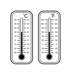 Linear flat icons of thermometers for weather vector