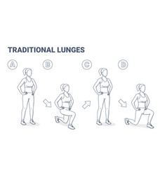 lunges female home workout exercise black and vector image