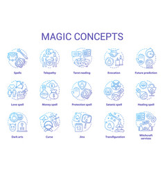 Magic concept icons set occultism sorcery and vector