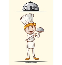 Male chef and tray of food vector image