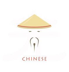 Man in chinese conical hat icon vector