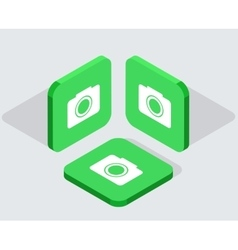 Modern 3 isometric app icons vector