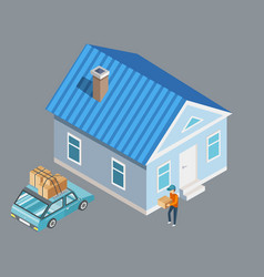 moving to another house guy with package vector image