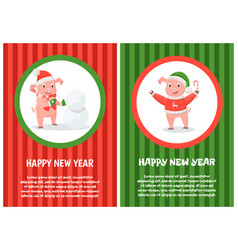 new year pigs building snowman christmas candy vector image