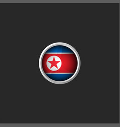 north korea round 3d icon glass material metal vector image