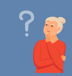 old woman thinking with question marks vector image