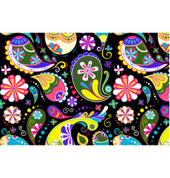 Paisley pattern background indian flower in vector
