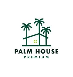 palm tree house logo icon vector image