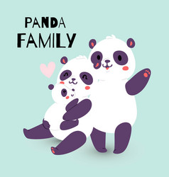 panda family with adult mother and father vector image