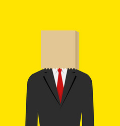Paper bag face businessman vector