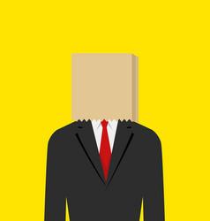 paper bag face businessman vector image