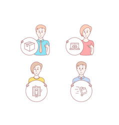 parcel online delivery and elevator icons push vector image