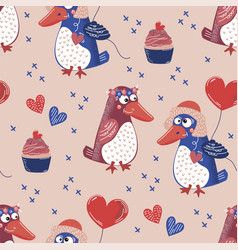 penguin love valentines day seamless pattern vector image