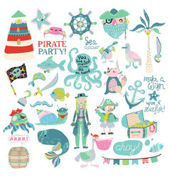 Pirate party collection vector