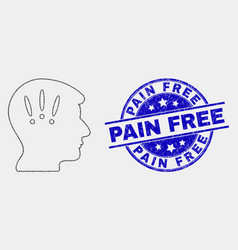 pixel headache icon and scratched pain free vector image