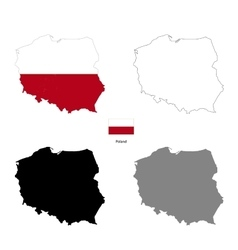 Poland country black silhouette and with flag vector