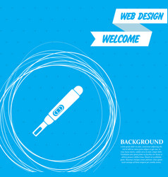 pregnancy test icon on a blue background with vector image