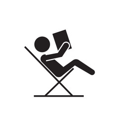reading book sitting in chair black vector image