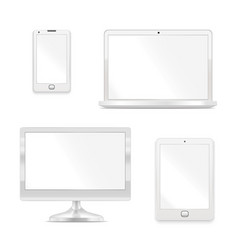 realistic detailed 3d white blank device template vector image