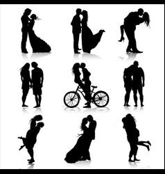 Romantic couples silhouettes love couple vector