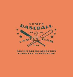 Sans serif font and emblem of baseball team vector