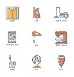 Scavenge day icons set cartoon style vector