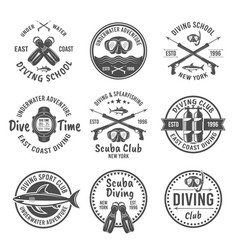 scuba diving and spearfishing black emblems vector image