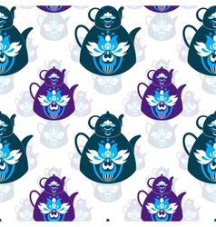 Seamless pattern of pots and flowers vector