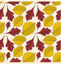 Seamless pattern with elm and hawthorn leaves vector