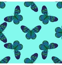 Seamless pattern with vintage green-blue butterfly vector