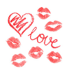 Set of lipstick drawn hearts and kisses isolated vector