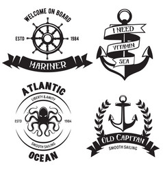 set sea and nautical decorations isolated on vector image