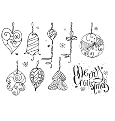 Set with Christmas decor and phrase Merry vector image