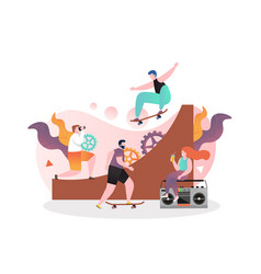 skateboarding concept for web banner vector image