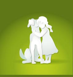 Small girl hugging big dog vector