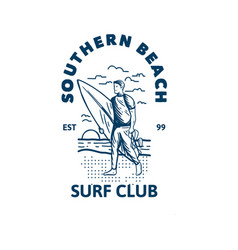 Southern beach surf club design t shirt vintage vector