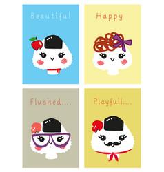 Stock set cute face onigiri vector