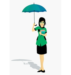Students holding an umbrella vector image