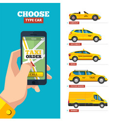 Taxi order online hand holding smartphone and vector