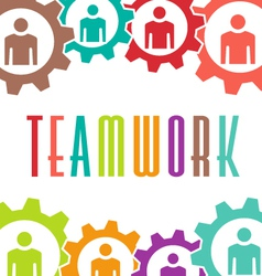 Teamwork gear people background vector