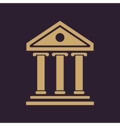 The bank icon Building facade symbol Flat vector image