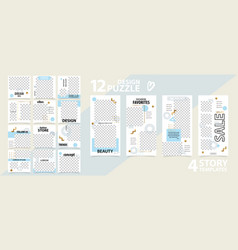 Trendy editable instagram set story and post vector