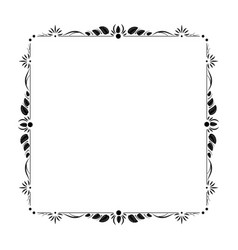 vintage black elegant contour frame with leaves vector image